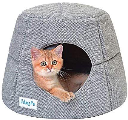 Amazon Com Ushang Pet Premium 2 In 1 Covered Cat Bed For Indoor Cats Washable Small Pet Sofa Cat Condo Pet Igloo Cave House Fo Cat Bed Cat Condo Indoor Cat