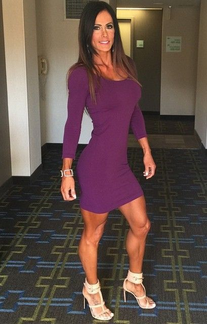 Superfit Catherine Radulic in a tight little purple dress and ...