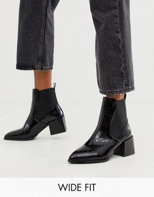 Lucinda black croc chelsea boots