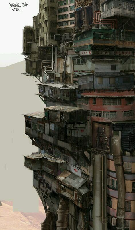 'Babel' by Nivanh Chanthara. Dirty, piled up and ever ascending, it implies the high tech and low life of cyberpunk. 'Babel' by Nivanh Chanthara. Dirty, piled up and ever ascending, it implies the high tech and low life of cyberpunk. Cyberpunk City, Ville Cyberpunk, Cyberpunk Kunst, Futuristic City, Futuristic Architecture, Residential Architecture, Cyberpunk Anime, Japan Architecture, Concept Architecture