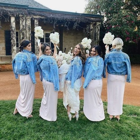 "Miss Poppy Design on Instagram: ""How amazing does this bridal party look?! Decked out in their custom @misspoppydesign denim jackets! #bridedenimjacket #bridestyle…"""
