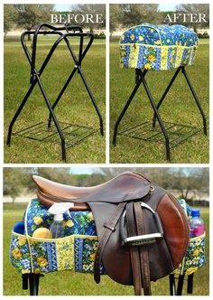 Convert it to fit on a Trail Rider Horse Trailer Saddle Rack. - Leave a slit up the back and add some velcro or snaps to help secure it onto your trailer's saddle rack. Saddle Rack Cover - Help keep yourself organized in your Trail Rider Horse Trailer. Horse Tips, My Horse, Horse Love, Horse Gear, Tack Trunk, Saddle Rack, Horse Crafts, Horse Trailers, Horse Training