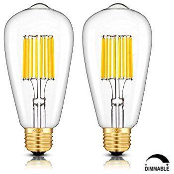 Crlight Led Edison Bulb 10w Dimmable 3000k Soft White 1000lm 100w Equivalent E26 Medium Base St21 St64 Vin Filament Bulb Edison Bulb Pilsner Glass