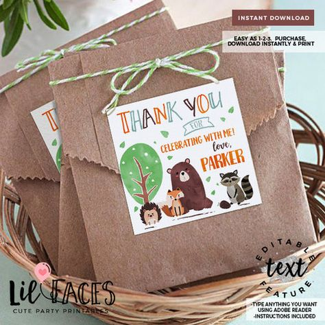 INSTANT DOWNLOAD - EDITABLE Woodland Birthday Favor Tags Woodland watercolors printable decor Woodland party Fox Party woodland animals