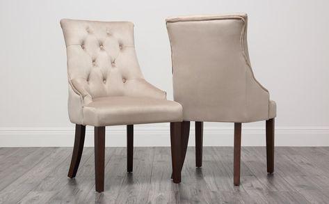 Duke Velvet Button Back Dining Chair Mink Dark Leg Dining Chairs Buy Fabric Dining Chairs