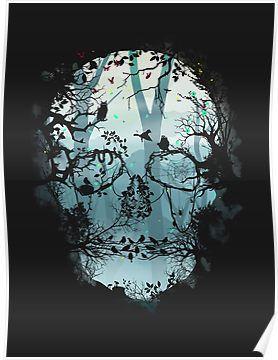 'Dark Forest Skull' Poster by Igor Sitchko