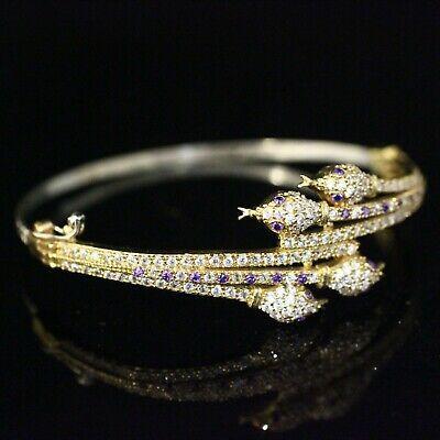 925 Sterling Silver Handmade Authentic Turkish Amethyst Ladies Bangle Cuff