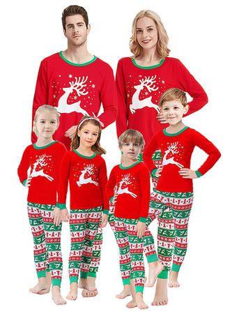 Family Christmas Pajamas Xmas Pajamas Sets Outfit Elk Print Matching Family PJS Boys Girls Kids Baby Homewear Sleepwear