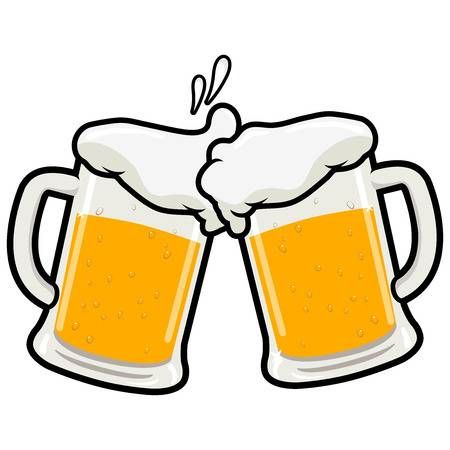 Two Full Beer Mugs On A Beer Toasting Concept Vector Illustration Beer Clipart Beer Mugs Beer Images