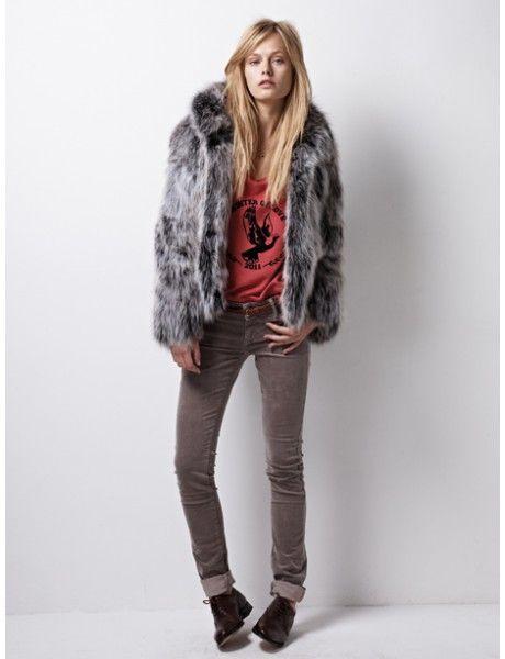 Gray fur coat