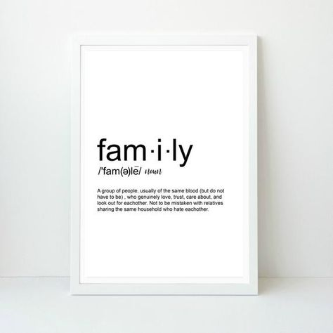 Family Definition, Funny Family Wall art, Home decor, Funny Home decor, Printable Print, Instant Download