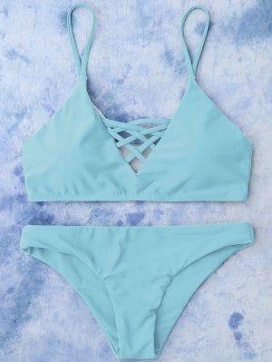 Banador De Bikini Con Cordones Azul Claro S Con Imagenes