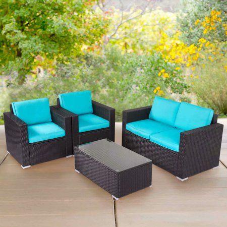 Kinbor 4 Piece Patio Furniture Set Rattan Wicker Sectional Sofa