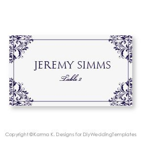 Wedding Place Card Template DOWNLOAD By DiyWeddingTemplates - Wedding place card templates free download