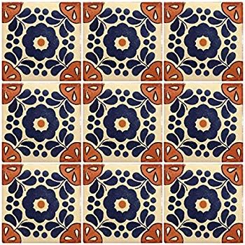 A1 Export Quality! Ceramic Talavera Mexican Tile 4x4 9 Pieces NOT Stickers Colonial Blue