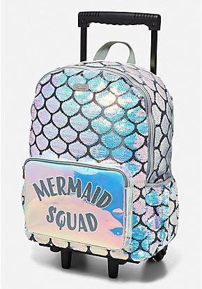 Mermaid Rolling Backpack Mermaid Backpack Girl Backpacks