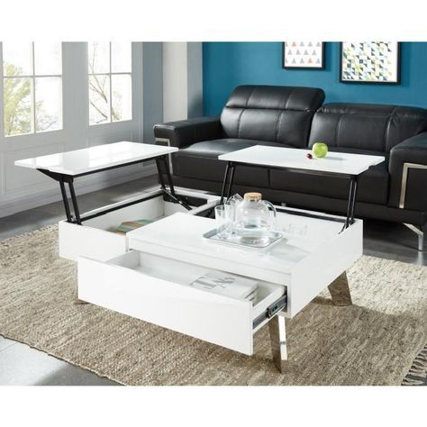 style laqué basse Table transformable contemporain ZANZIBAR CQhrdts