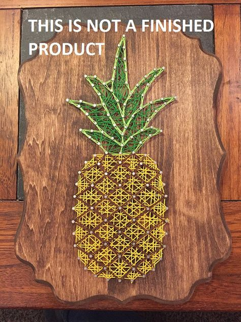 Want to make a pineapple string art on your own? This DIY kit includes everything you need to complete this awesome decoration! Kit includes: -Wood (9x12) -String -Nails -Template/Pattern -Sawtooth Hanger
