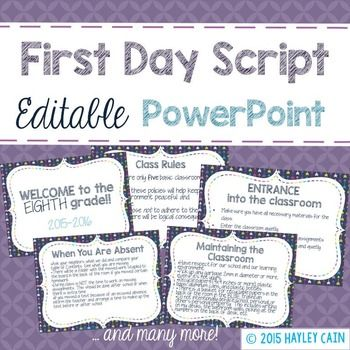 A comprehensive checklist in an editable  PowerPoint to show your students on Day One! This is very helpful for new teachers to help introduce students to the Rules and Procedures of your classroom! This is more geared towards Middle and High School students but since it is editable, it can easily be changed for an Elementary Classroom.