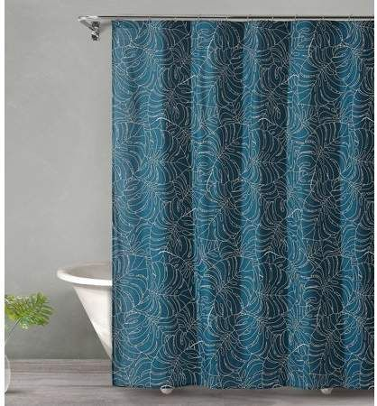 Style Quarters Tropical Midnight Shower Curtain Palm Leaves On