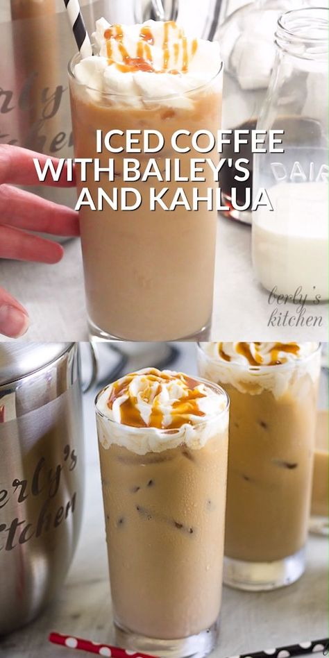 Iced Coffee with Kahlua and Bailey's is the perfect pick-me-up. It's smooth, creamy, and slightly sweet with Irish cream and coffee flavors. #berlyskitchen