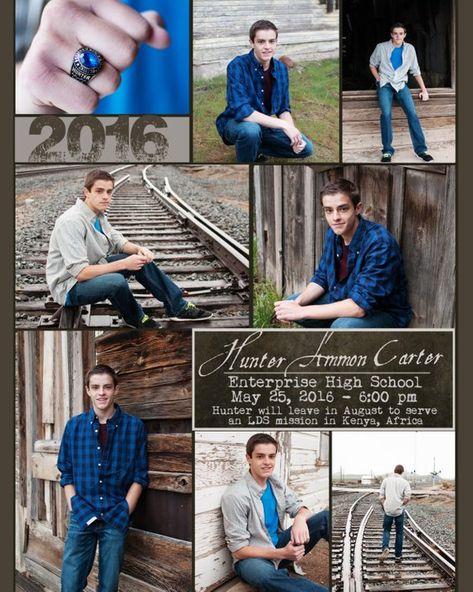 Custom Senior Boy Graduation Announcement with multiple Photos