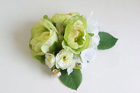 造花コサージュの作り方 1 アジサイのコサージュ はなどんやマガジン コサージュ 作り方 コサージュ 花かんむり