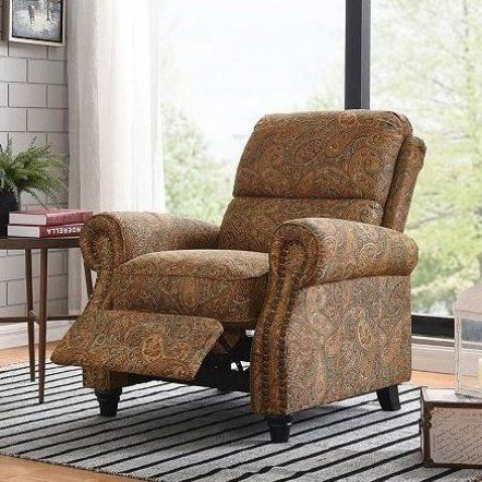 Sit Back And Relax In This Rounded Arm Reclining Chair Accented With Hand Tacked Antique Bronze Nail Heads Simply Push Back To Furniture Recliner Chair Chair
