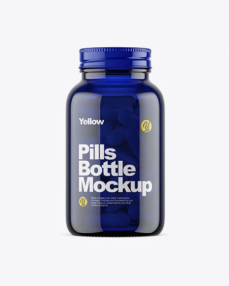 Dark Blue Glass Bottle With Pills Mockup In Bottle Mockups On Yellow Images Object Mockups Mockup Free Psd Blue Glass Bottles Mockup Psd