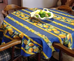 60 In Round Coated Tablecloth With Lemon Designs Table Cloth