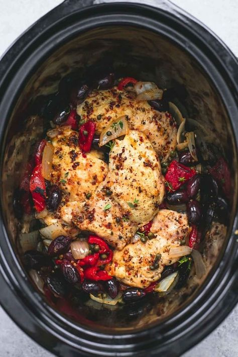 This slow cooker Mediterranean chicken is the perfect way to break your weeknight dinner boredom. The chicken is cooked in a rich, flavorful sauce of onions, garlic, Italian seasoning, and lemon juice. Roasted red peppers make it nice and rich, while kalamata olives and capers give it a wonderfully salty, briny flavor. Easiest meal ever.