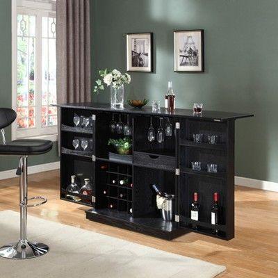 Proman Products California Fold Away Bar Cabinet Black Bar Cabinet Cabinet Bar Furniture