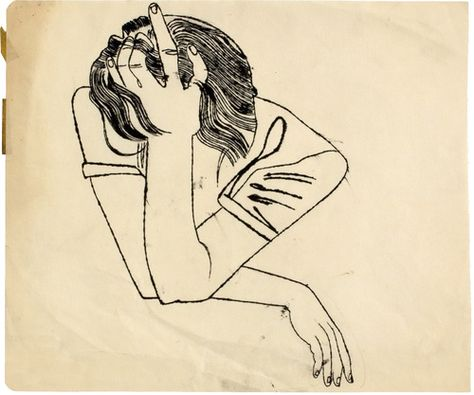 Andy Warhol, Untitled (Pensive Girl Resting Head on her Hand),ca. 1951