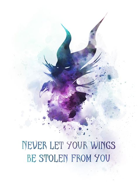 Maleficent Quote ART PRINT Sleeping Beauty, Never let your wings be stolen from you, Fairy Tale, Gift, Wall Art, Home Decor, Inspirational, Gift Ideas, Birthday, Christmas