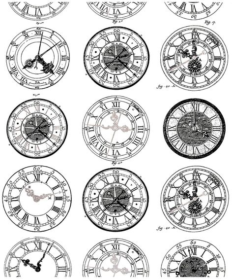 Free coloring page coloring-difficult-anciennes-montres. Ancient Engraving of old watches, very diverses in their styles. To print and color