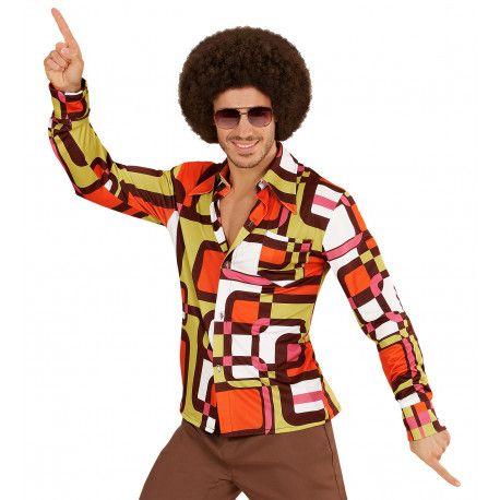 amplia selección primer nivel comprar Camisa Disco Años 70 Multicolor para Hombre | Comprar Online ...