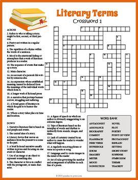No Prep Literary Terms Crossword Puzzles Literary Terms