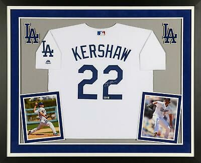 Clayton Kershaw La Dodgers Deluxe Framed Signed Majestic White Jersey Fanatics Sportsmemorabilia Autograph Jersey White Jersey Jersey La Dodgers