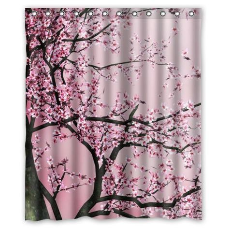 Pretty Cherry Blossom Shower Curtain Pink Shower Curtains Tree Shower Curtains Fabric Shower Curtains
