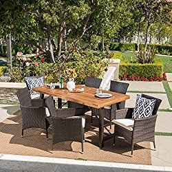 Great Deal Furniture Sernos Wicker Dining Chairs Patio Furniture Sets Outdoor Dining Set