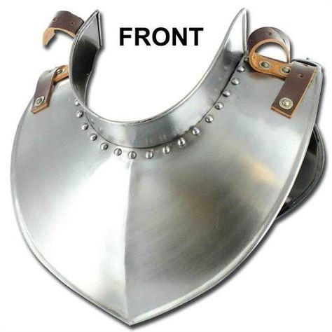 Medieval Austere Renaissance Army Gorget 18 Gauge Polished Armor