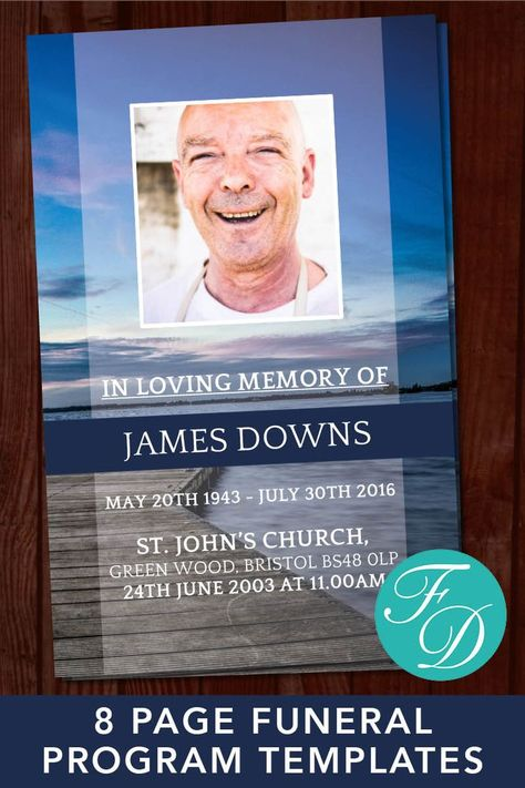 8 Page Ocean Funeral Program Template Celebration Of Life