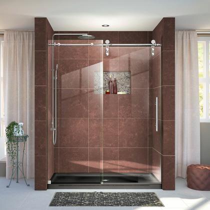Aqua Uno 60 Inch X 58 Inch Semi Frameless Hinged Tub Shower Door