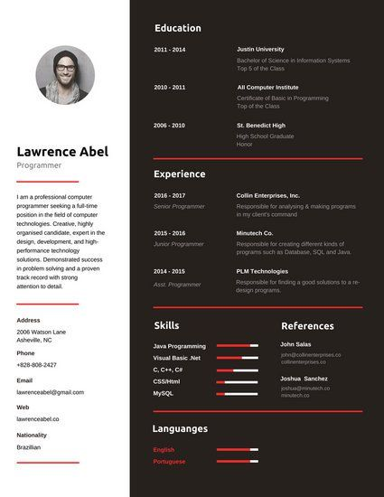 Red And Black Programmer Infographic Resume Infographic Resume Infographic Resume Template Resume Tips
