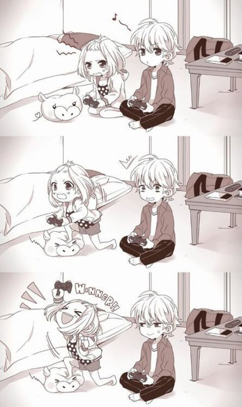 #Anime #Anime-Couples #Boyfriends #Couple #Cute-Anime-Couples #Games #Girlfriends #Playing-Games #anime - cute anime couple playing game together and boy let win his lovely girlfriend tumblr romantic relationships smiling having fun together #relationship