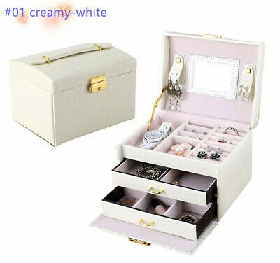 Ebay Advertisement Large Jewellery Box Ring Cabinet Jewelry Organizer Necklace Storage Case Lea In 2020 Jewelry Organizer Box Large Jewelry Box Jewelry Packaging Box