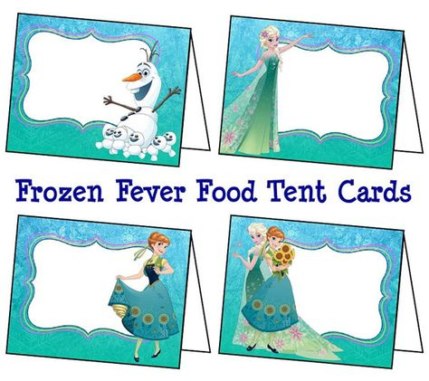 Disney Frozen Fever Food Labels Frozen Fever Tent Cards
