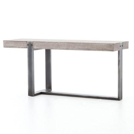 Shop Our Bina Mercury Concrete Iron Console Table On Sale This Console Table S Grey Concrete Top Features Rubb Iron Console Table Iron Console Console Table