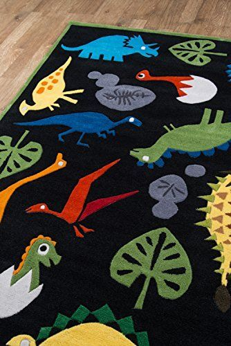 Momeni Rugs Lmojulmj18blk3050 Lil Mo Whimsy Collection Kids Themed Hand Carved Tufted Area Rug 3 X 5 Multicolor Dinosaurs On Blac Kids Rugs Dinosaur Rug Tufted