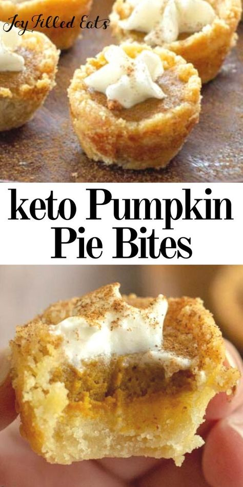 Mini Pumpkin Pies - Low Carb Keto Gluten-Free Grain-Free Sugar-Free THM S - These Mini Pumpkin Pies will be the cutest treat you serve this fall. They are the perfect handheld two-bite sweet to satisfy your pumpkin craving. Low Carb Sweets, Low Carb Desserts, Low Carb Recipes, Dessert Recipes, Dinner Recipes, Frozen Desserts, Health Desserts, Keto Pumpkin Pie, Mini Pumpkin Pies
